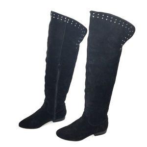 Kelsi Dagger Black Suede Over the Knee Stud Boots